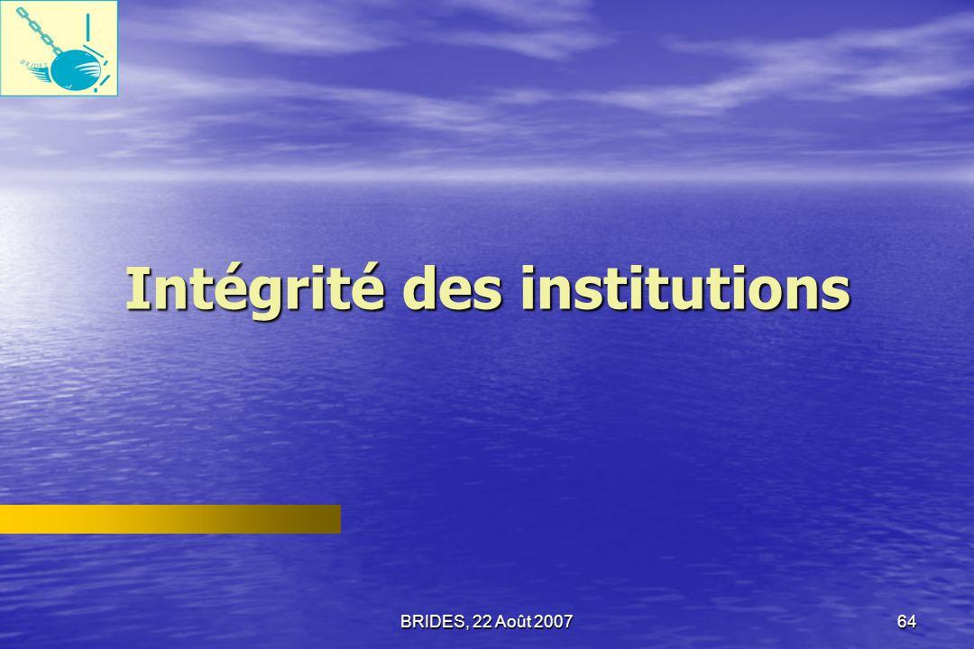 Intégrité des institutions