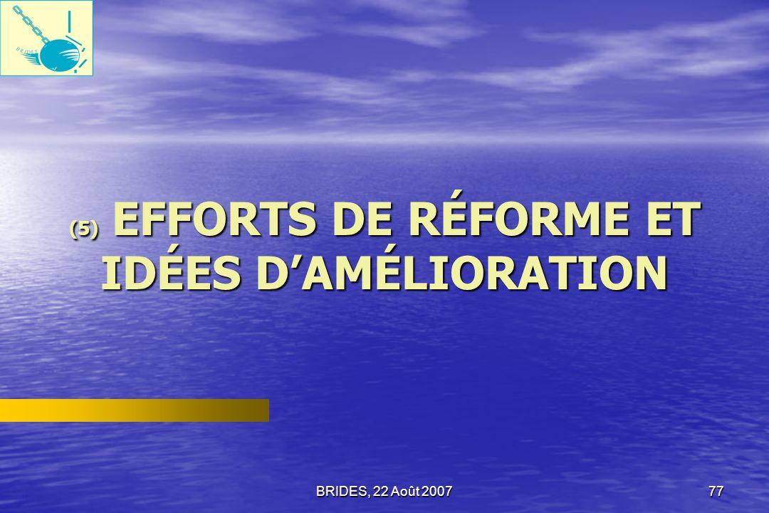 (5) EFFORTS DE RÉFORME ET IDÉES D'AMÉLIORATION