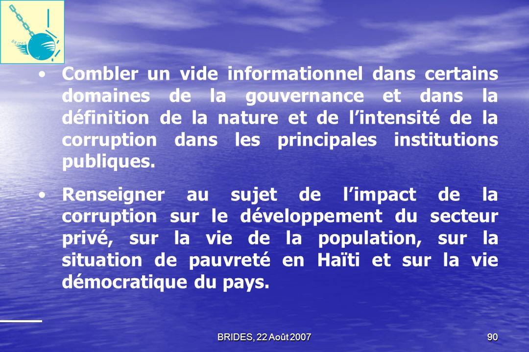 Combler un vide informationnel dans certains domaines de la gouvernance et dans la définition de la nature et de l'intensité de la corruption dans les principales institutions publiques.