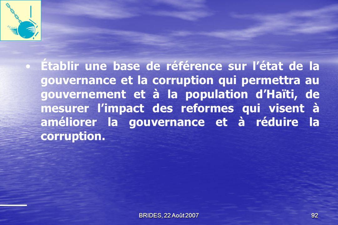Établir une base de référence sur l'état de la gouvernance et la corruption qui permettra au gouvernement et à la population d'Haïti, de mesurer l'impact des reformes qui visent à améliorer la gouvernance et à réduire la corruption.