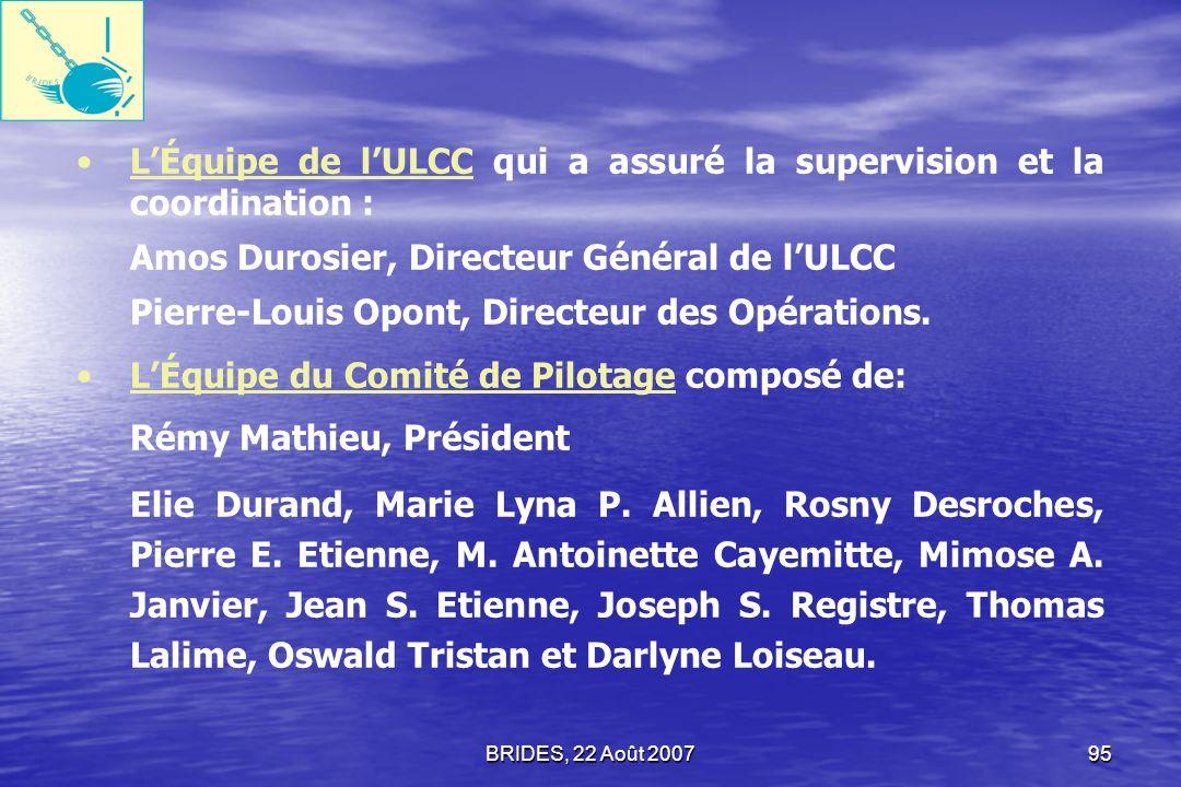 L'Équipe de l'ULCC qui a assuré la supervision et la coordination :