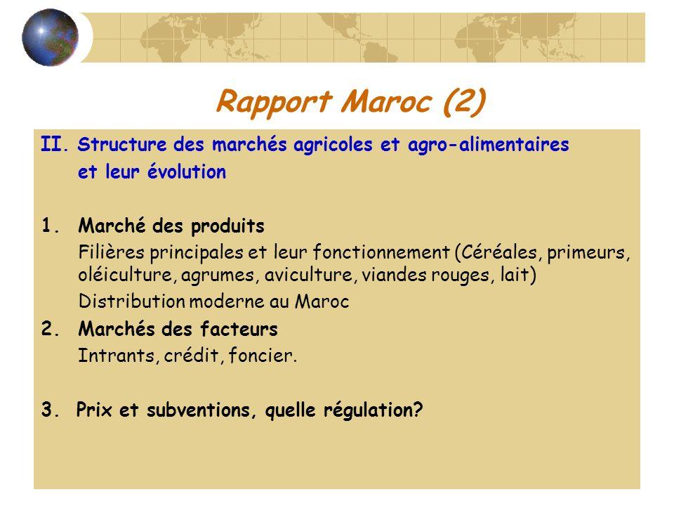 Rapport Maroc (2)II. Structure des marchés agricoles et agro-alimentaires. et leur évolution. Marché des produits.