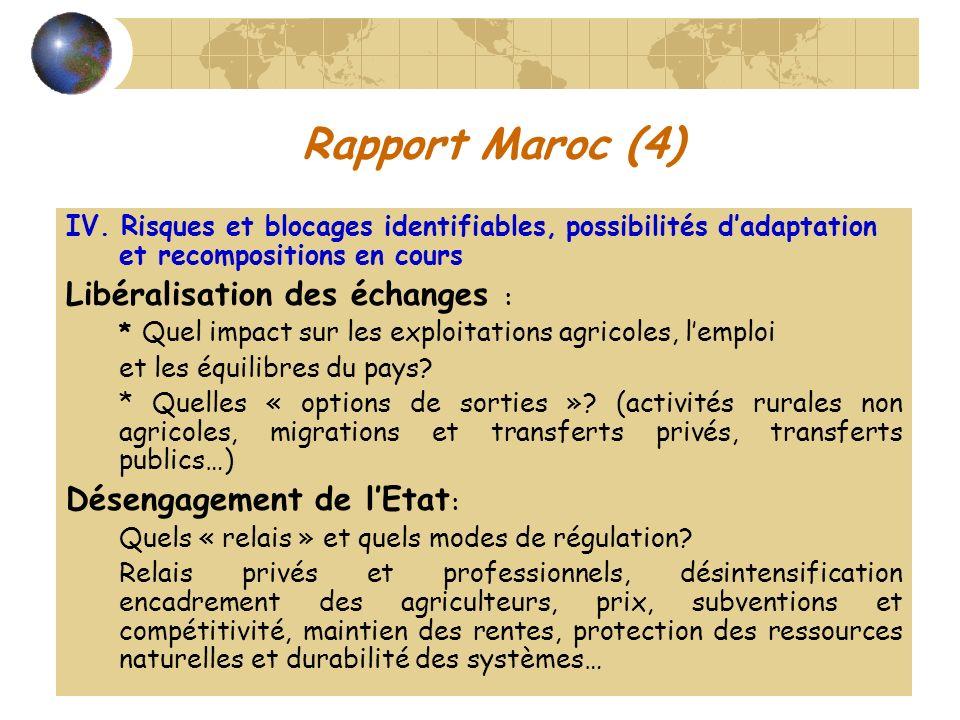 Rapport Maroc (4) Libéralisation des échanges :