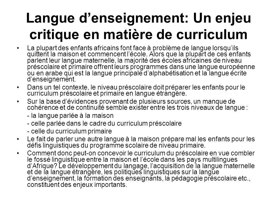 Langue d'enseignement: Un enjeu critique en matière de curriculum