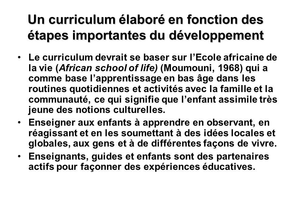 Un curriculum élaboré en fonction des étapes importantes du développement