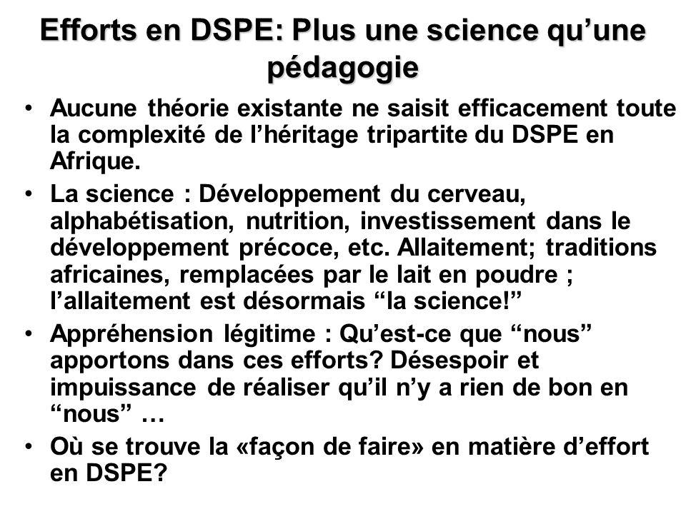 Efforts en DSPE: Plus une science qu'une pédagogie
