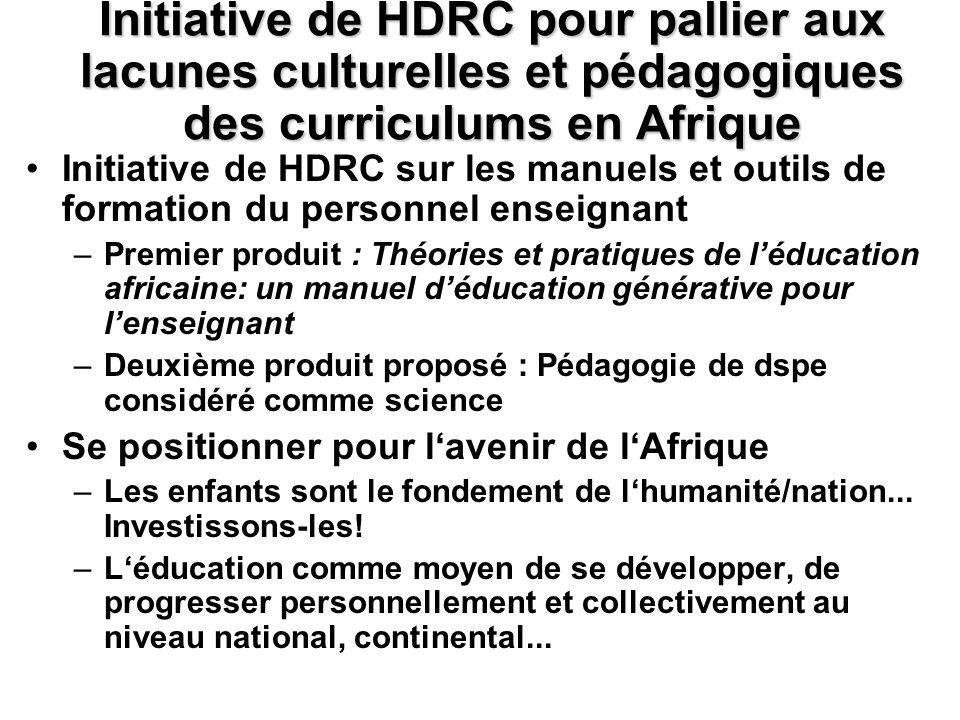 Initiative de HDRC pour pallier aux lacunes culturelles et pédagogiques des curriculums en Afrique