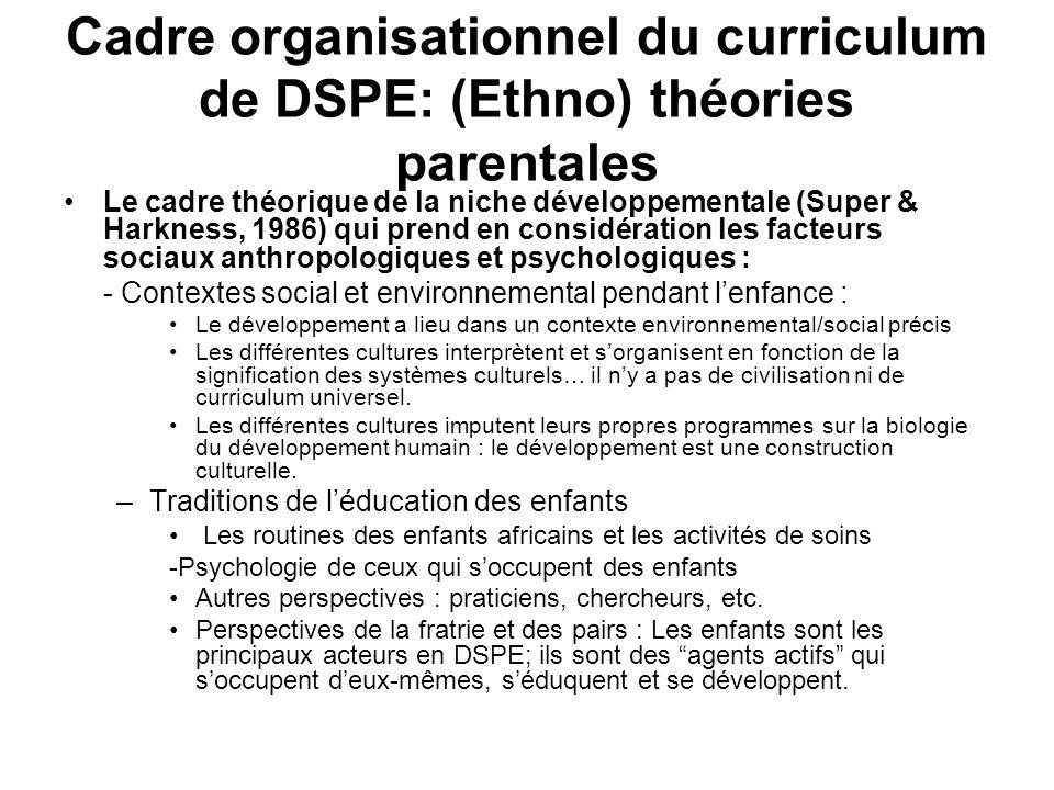 Cadre organisationnel du curriculum de DSPE: (Ethno) théories parentales
