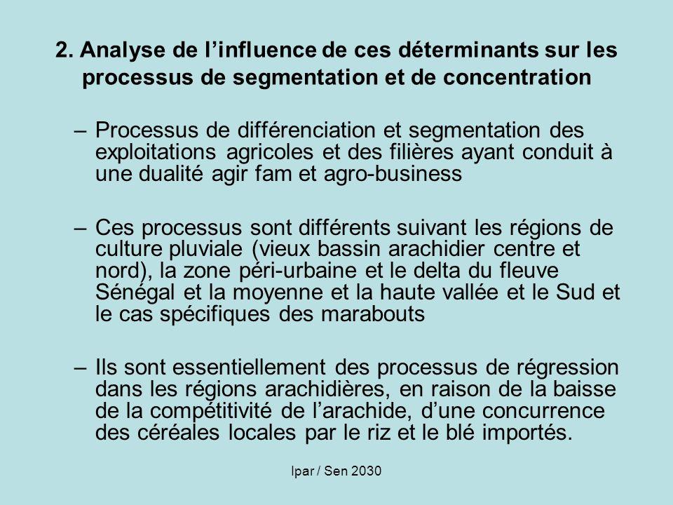 2. Analyse de l'influence de ces déterminants sur les processus de segmentation et de concentration