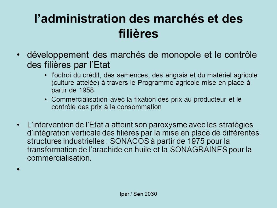 l'administration des marchés et des filières