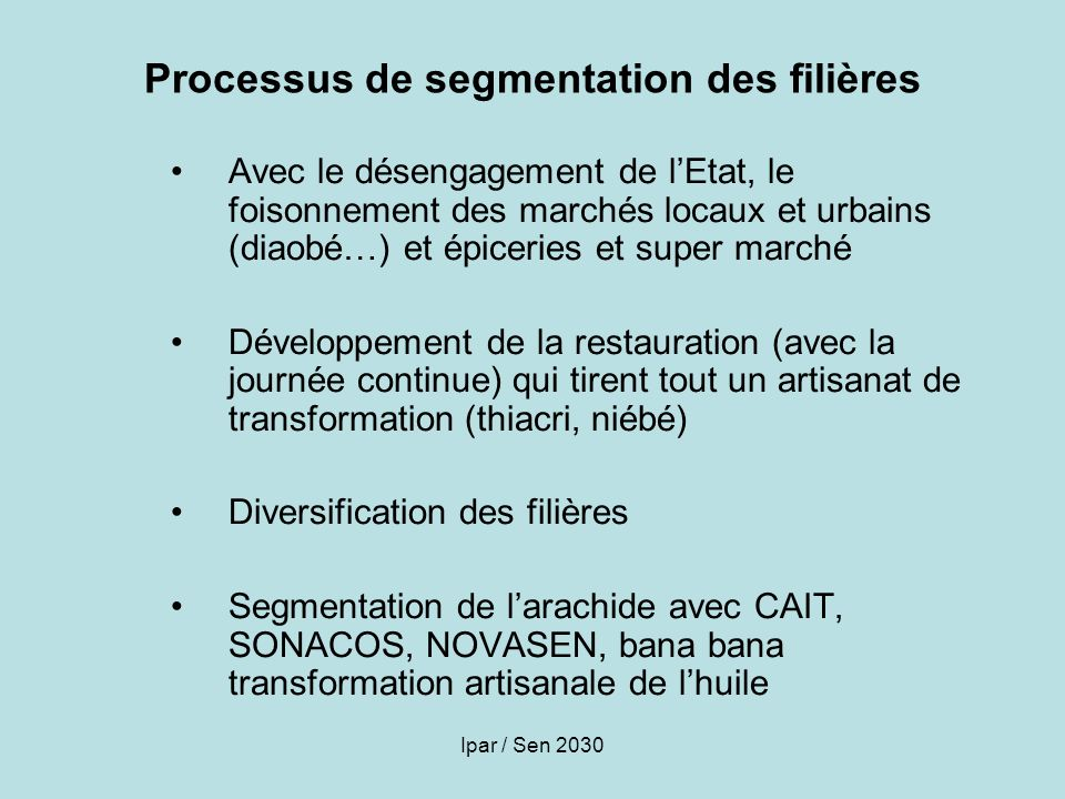 Processus de segmentation des filières