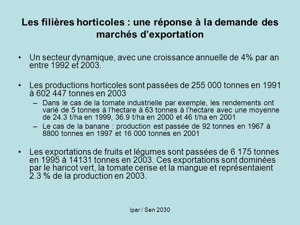 Les filières horticoles : une réponse à la demande des marchés d'exportation