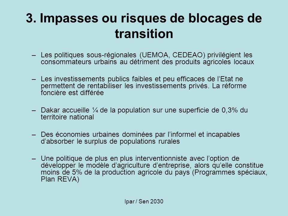 3. Impasses ou risques de blocages de transition
