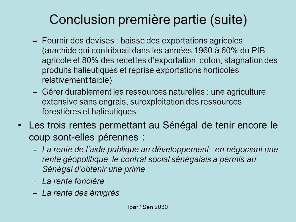 Conclusion première partie (suite)