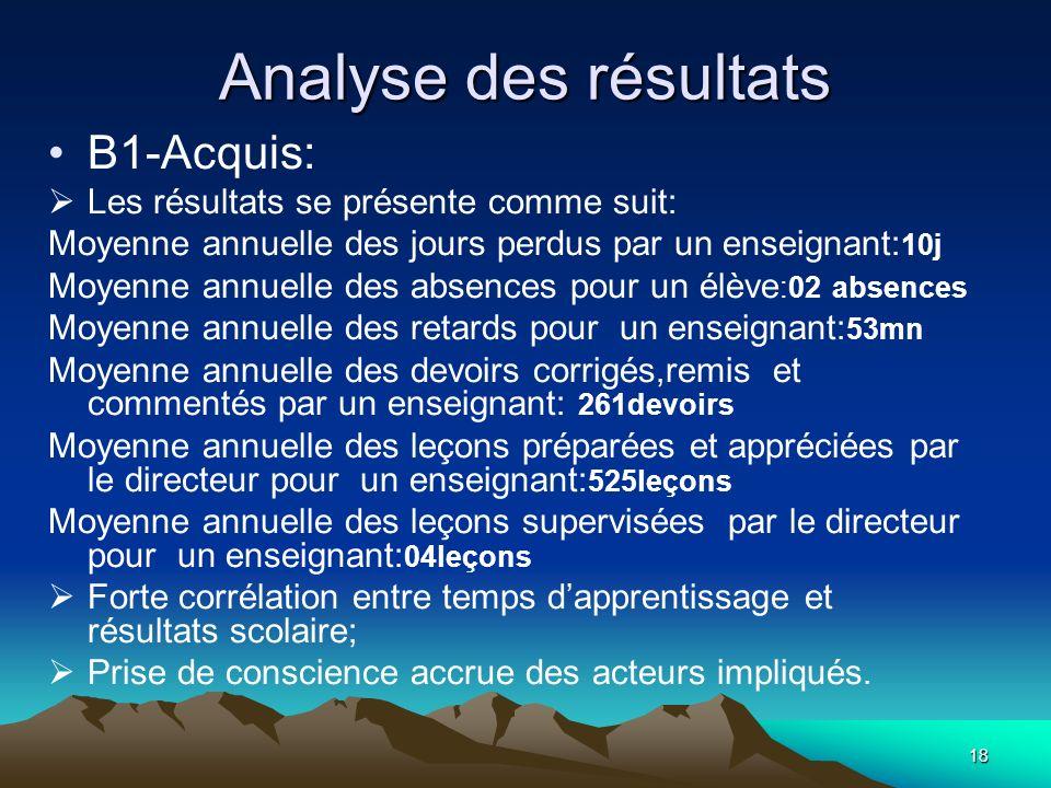 Analyse des résultats B1-Acquis: Les résultats se présente comme suit: