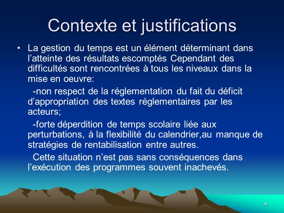 Contexte et justifications