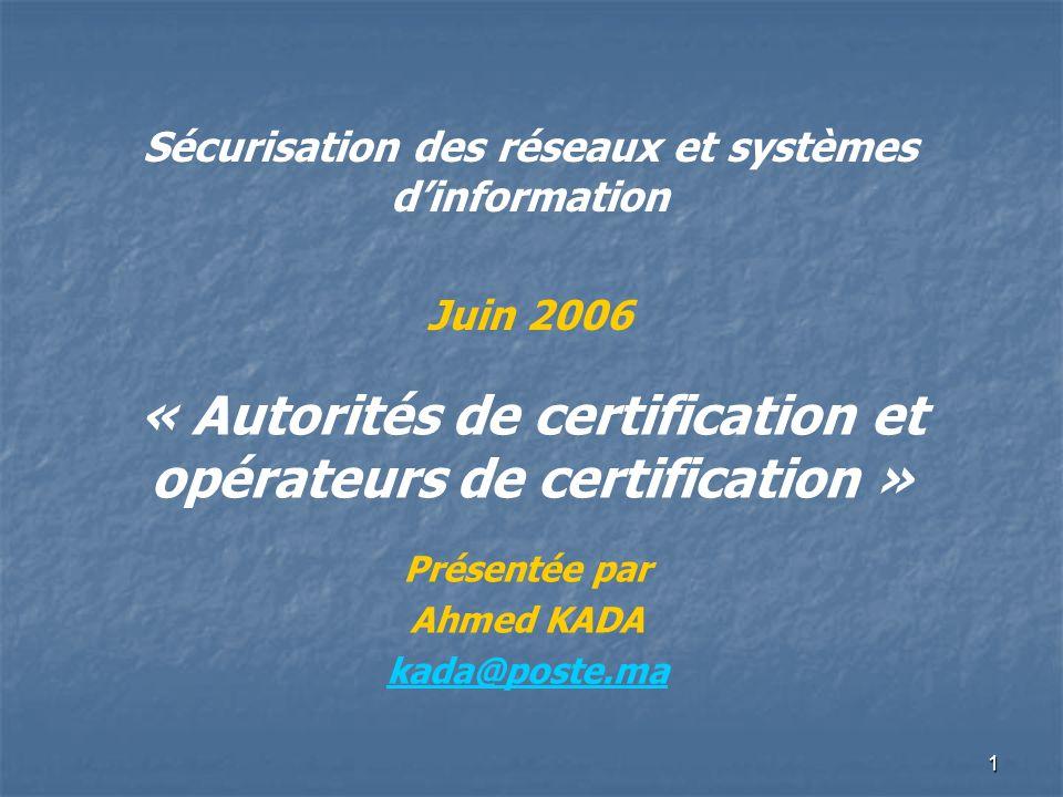 « Autorités de certification et opérateurs de certification »