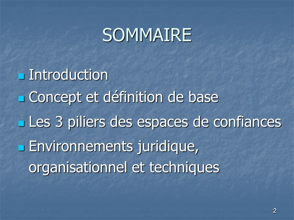 SOMMAIRE Introduction Concept et définition de base