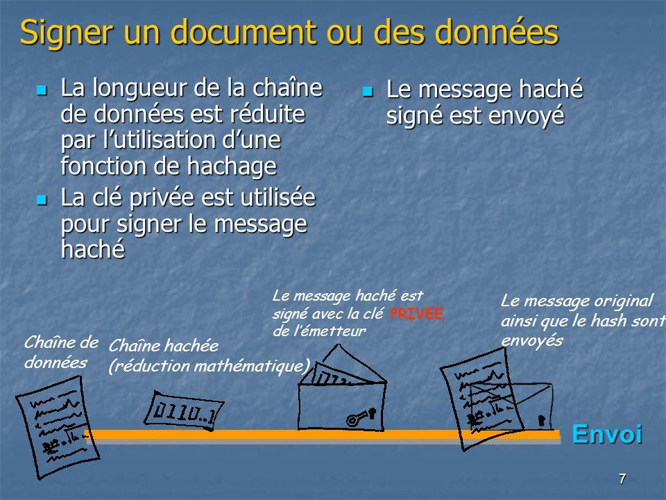 Signer un document ou des données