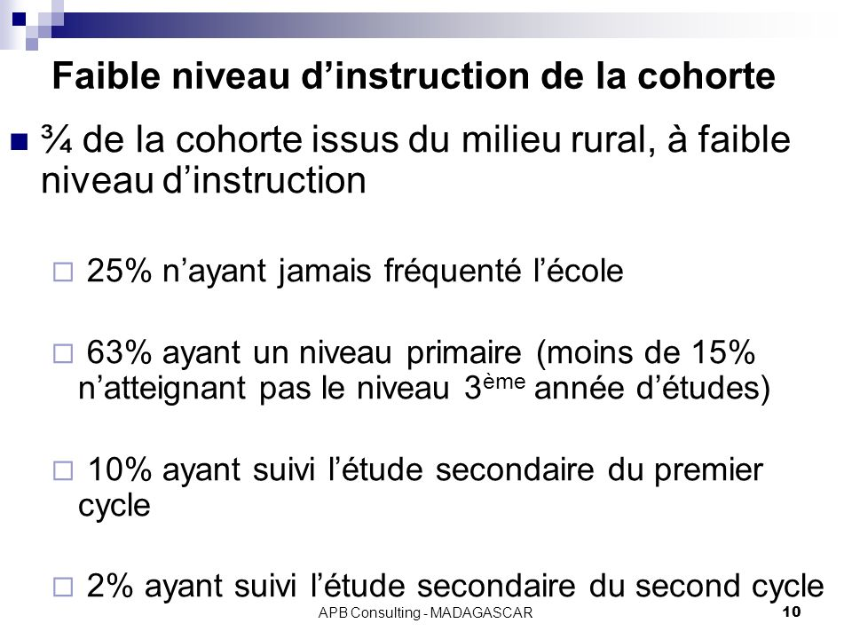 Faible niveau d'instruction de la cohorte