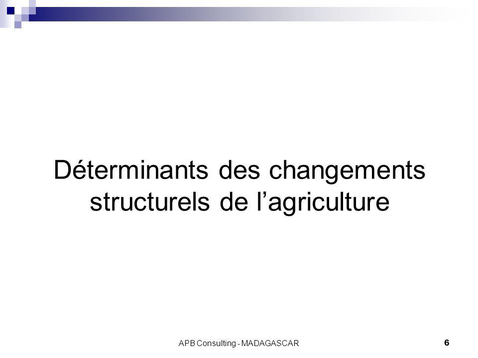 Déterminants des changements structurels de l'agriculture