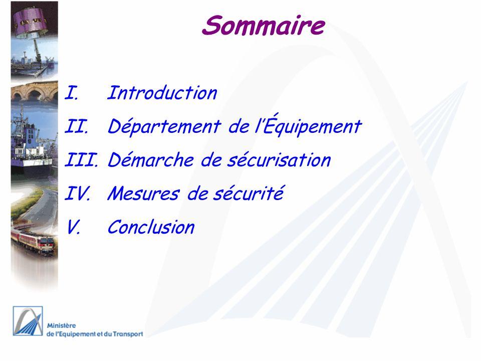 Sommaire Introduction Département de l'Équipement