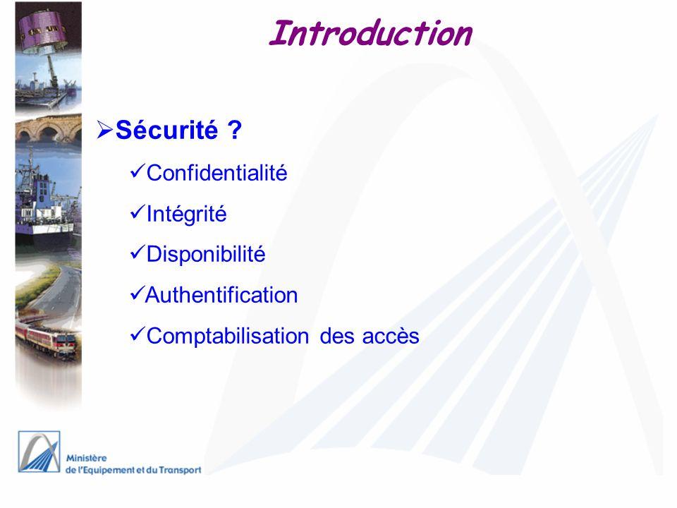 Introduction Sécurité Confidentialité Intégrité Disponibilité