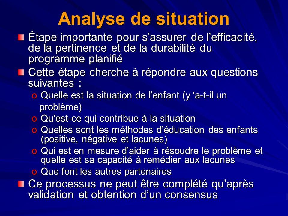 Analyse de situationÉtape importante pour s'assurer de l'efficacité, de la pertinence et de la durabilité du programme planifié.