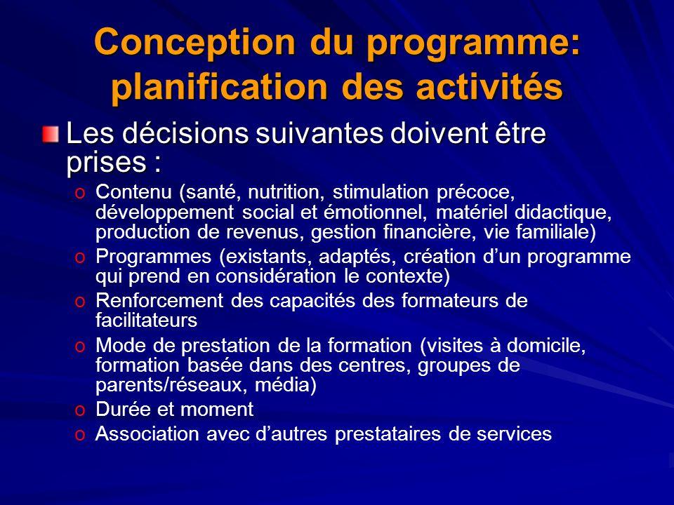 Conception du programme: planification des activités