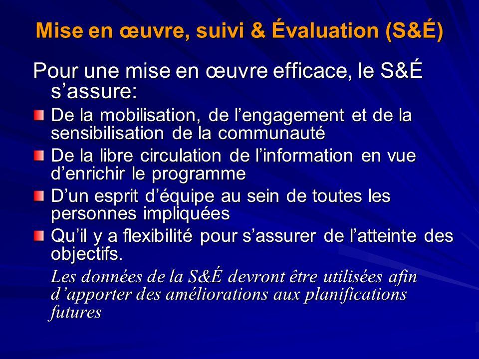 Mise en œuvre, suivi & Évaluation (S&É)