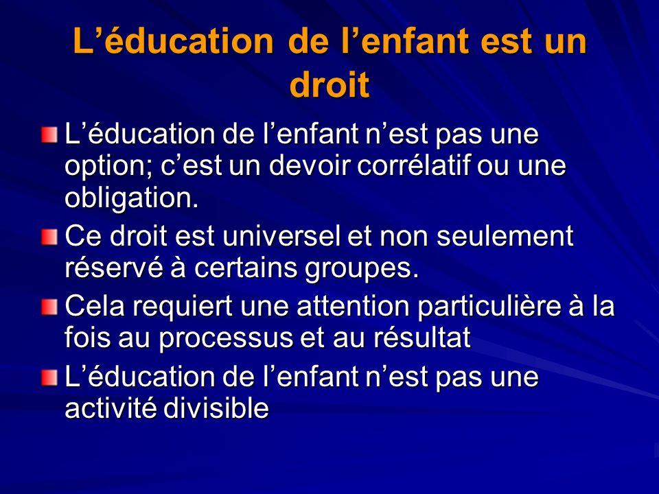 L'éducation de l'enfant est un droit