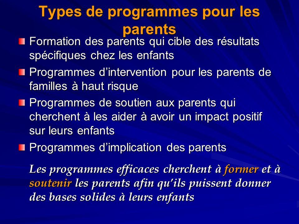Types de programmes pour les parents