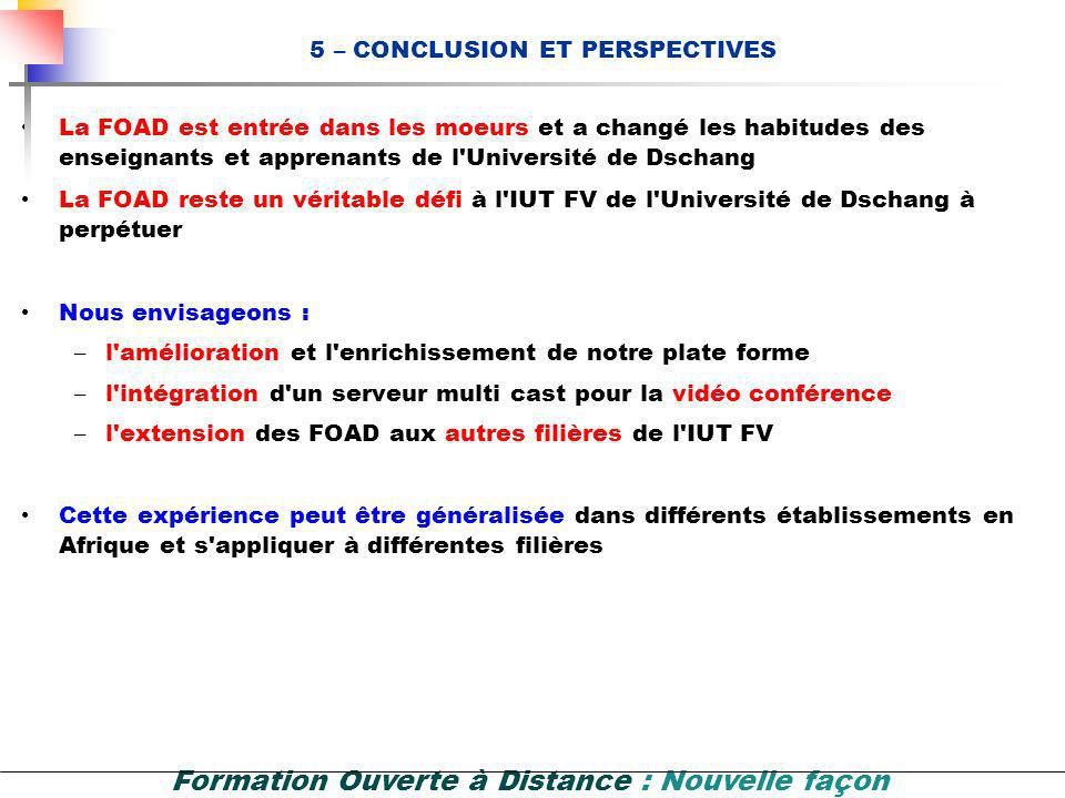 5 – CONCLUSION ET PERSPECTIVES