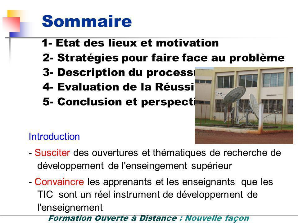 Sommaire 1- Etat des lieux et motivation Introduction