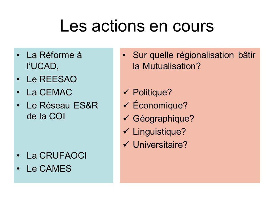 Les actions en cours La Réforme à l'UCAD, Le REESAO La CEMAC