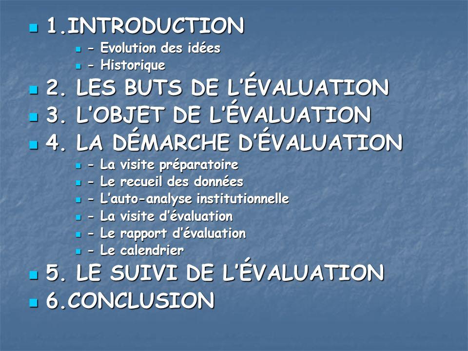 2. LES BUTS DE L'ÉVALUATION 3. L'OBJET DE L'ÉVALUATION