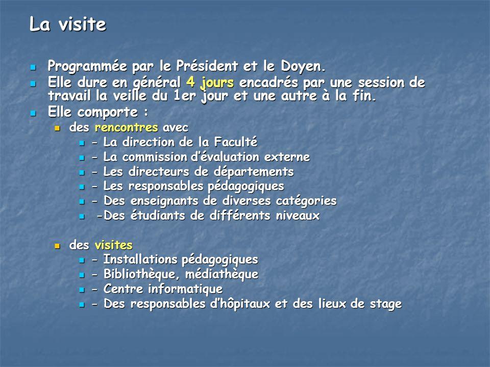 La visite Programmée par le Président et le Doyen.