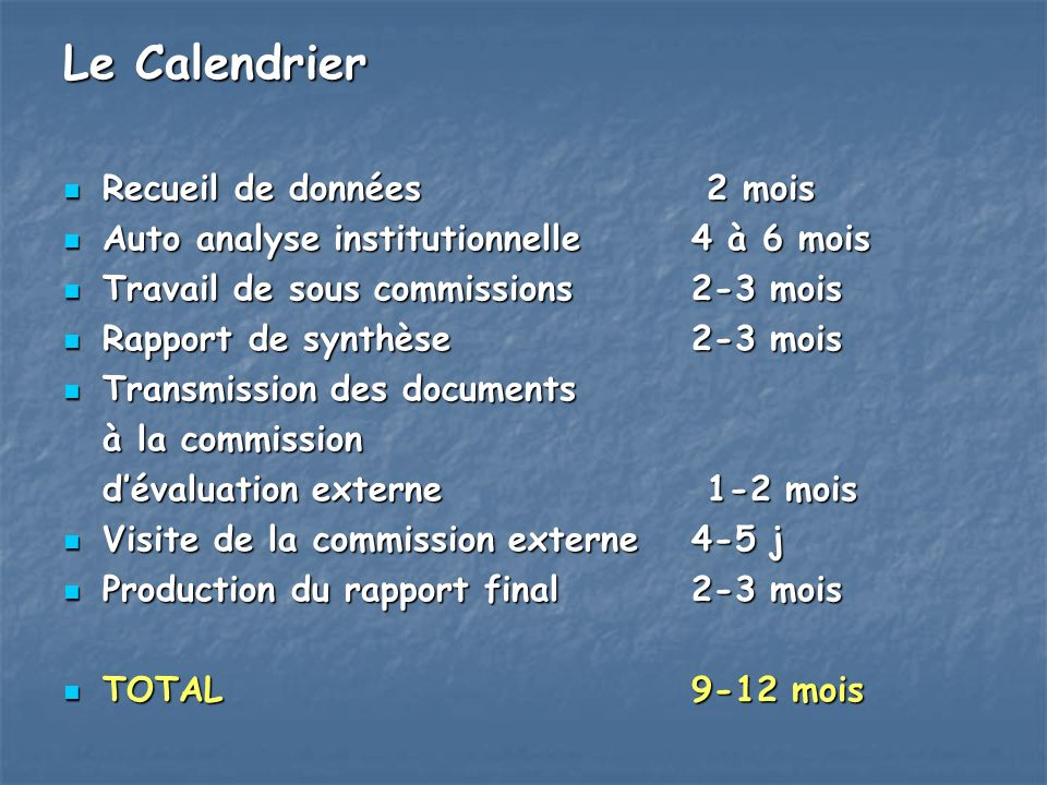 Le Calendrier Recueil de données 2 mois