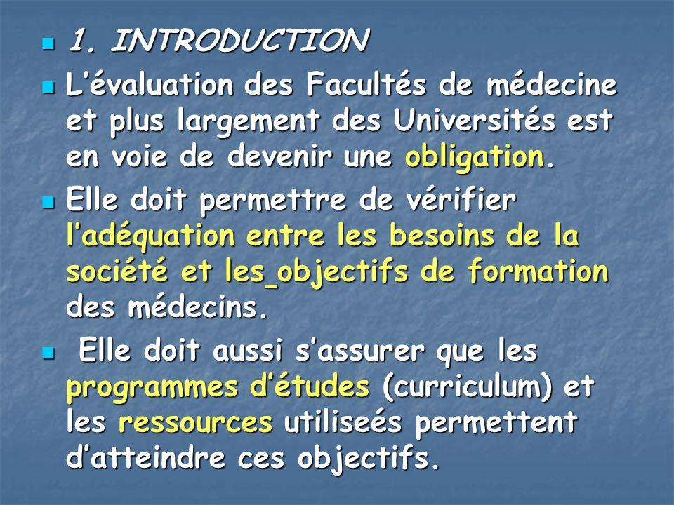 1. INTRODUCTION L'évaluation des Facultés de médecine et plus largement des Universités est en voie de devenir une obligation.