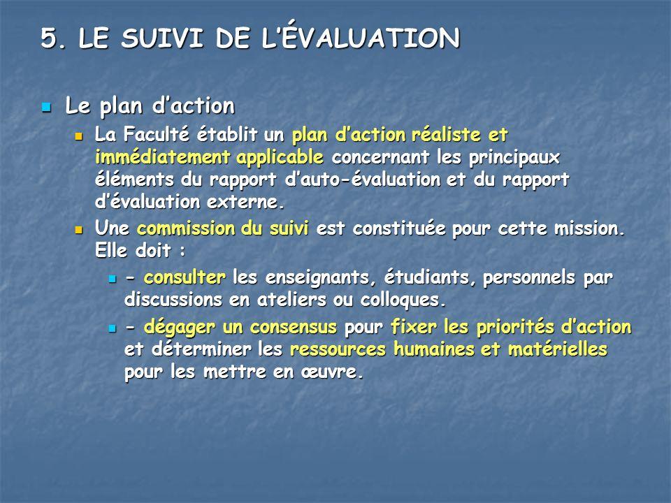 5. LE SUIVI DE L'ÉVALUATION