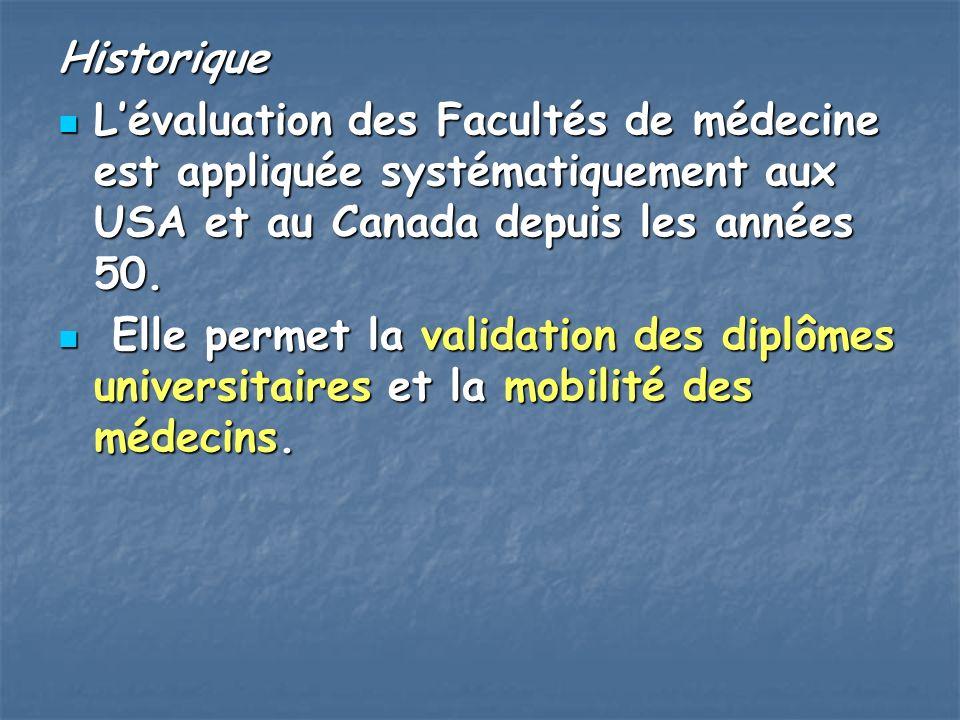 Historique L'évaluation des Facultés de médecine est appliquée systématiquement aux USA et au Canada depuis les années 50.