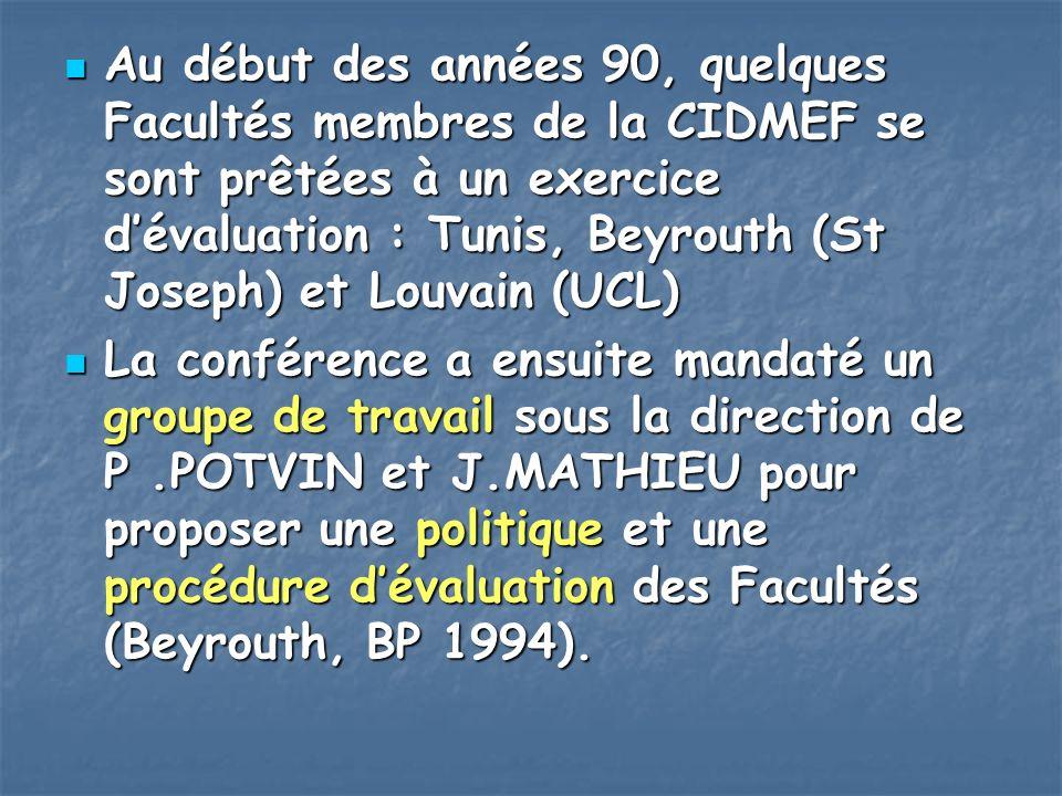 Au début des années 90, quelques Facultés membres de la CIDMEF se sont prêtées à un exercice d'évaluation : Tunis, Beyrouth (St Joseph) et Louvain (UCL)