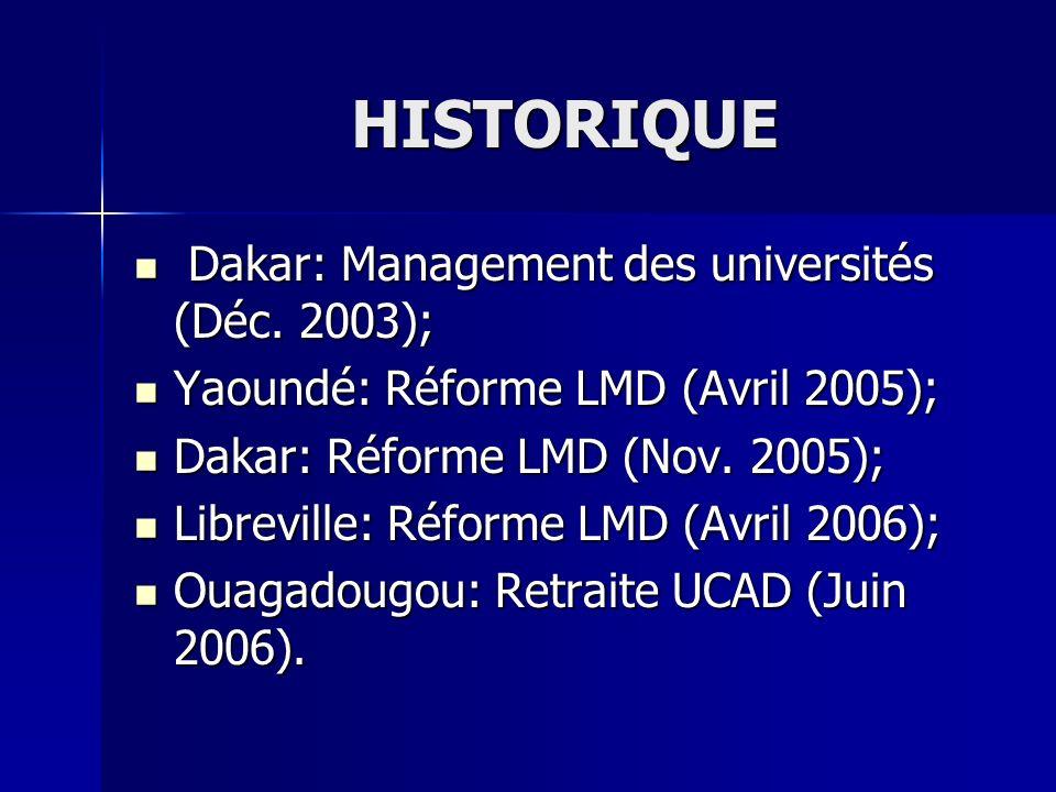 HISTORIQUE Dakar: Management des universités (Déc. 2003);