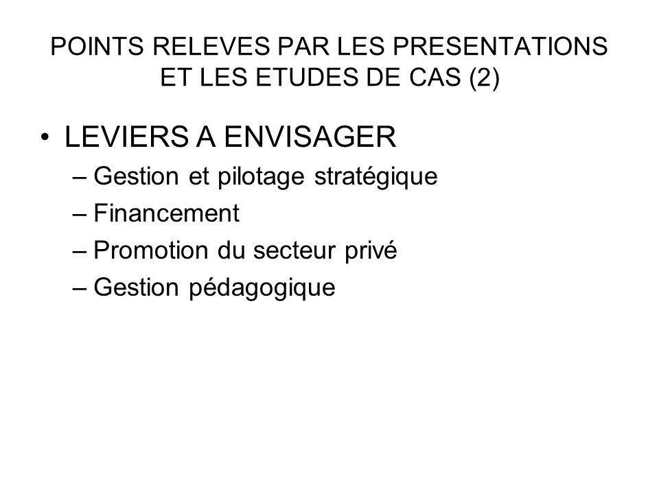 POINTS RELEVES PAR LES PRESENTATIONS ET LES ETUDES DE CAS (2)