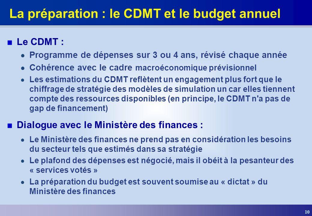 La préparation : le CDMT et le budget annuel