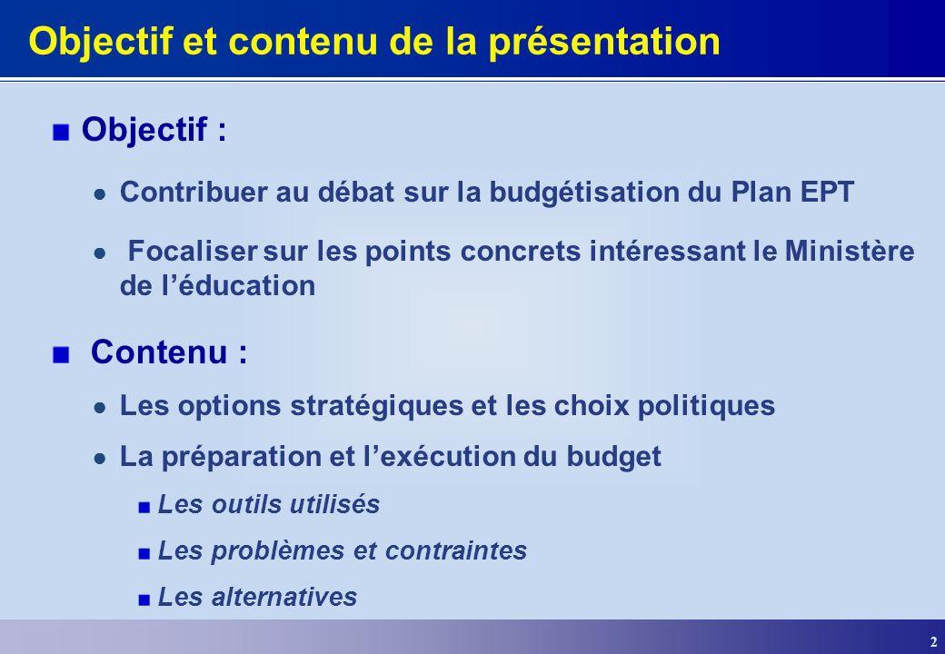 Objectif et contenu de la présentation