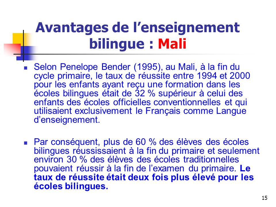 Avantages de l'enseignement bilingue : Mali