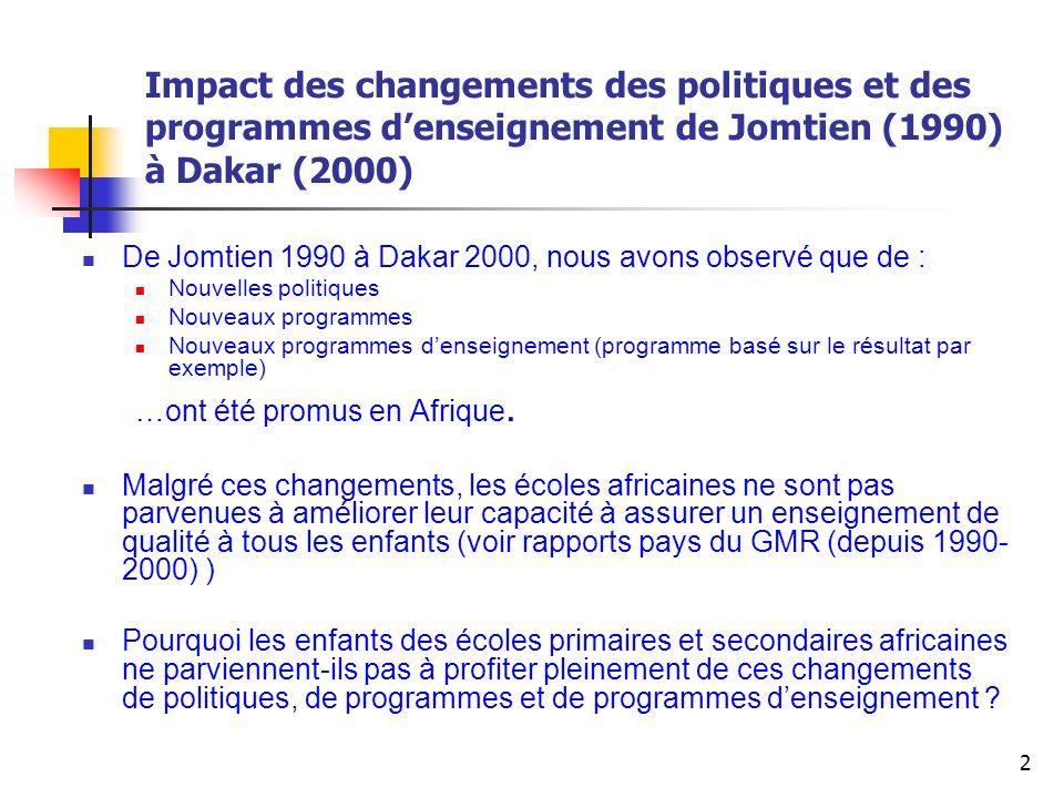 Impact des changements des politiques et des programmes d'enseignement de Jomtien (1990) à Dakar (2000)