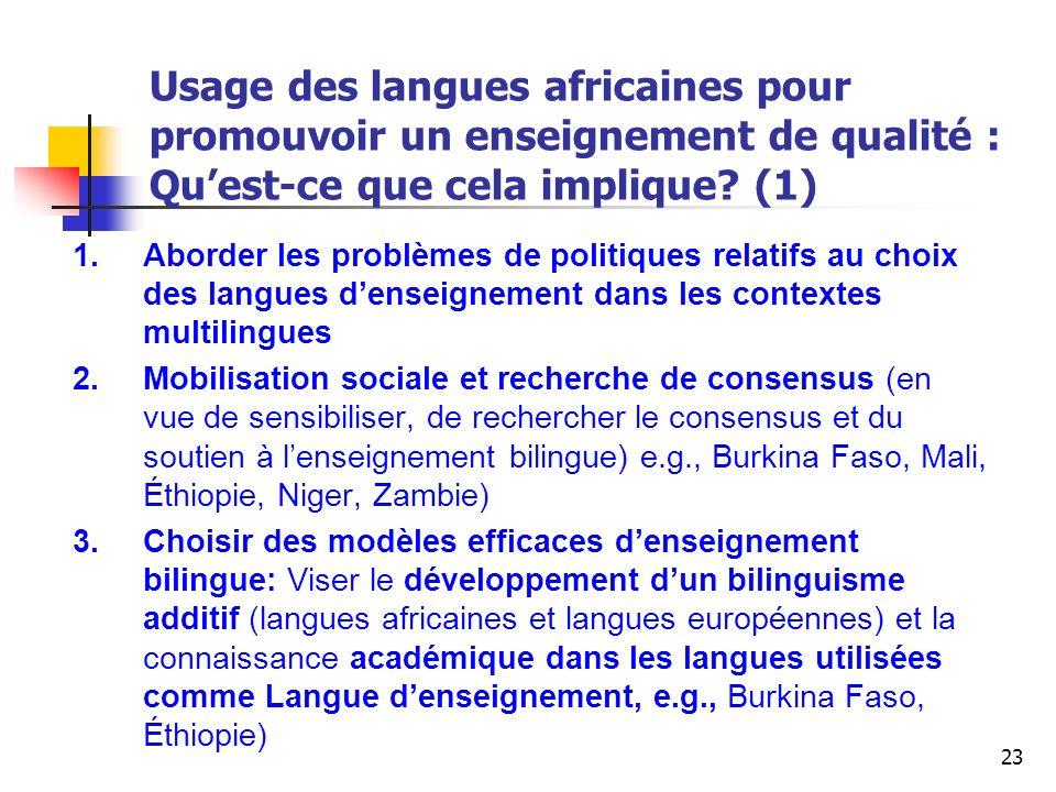 Usage des langues africaines pour promouvoir un enseignement de qualité : Qu'est-ce que cela implique (1)