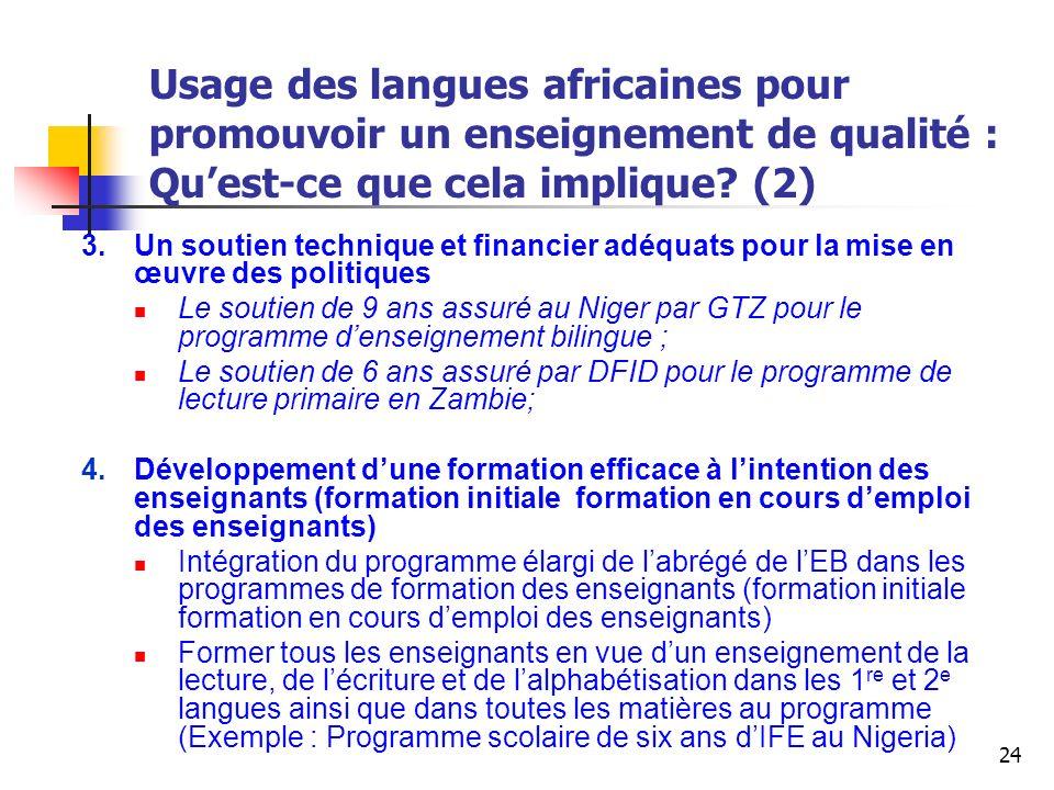 Usage des langues africaines pour promouvoir un enseignement de qualité : Qu'est-ce que cela implique (2)